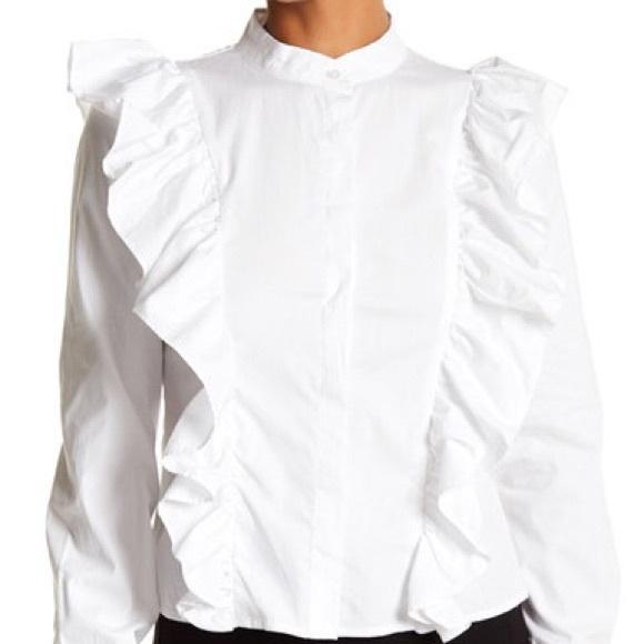 08b2cdf4cb5 ROMEO  JULIET COUTURE White Ruffle Blouse M NWT